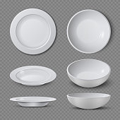 White empty ceramic plate in different points of view isolated vector illustration