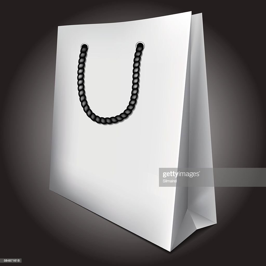 White empty paper cardboard shopping sale bag vector