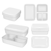 White empty plastic lunch box vector realistic mock up set