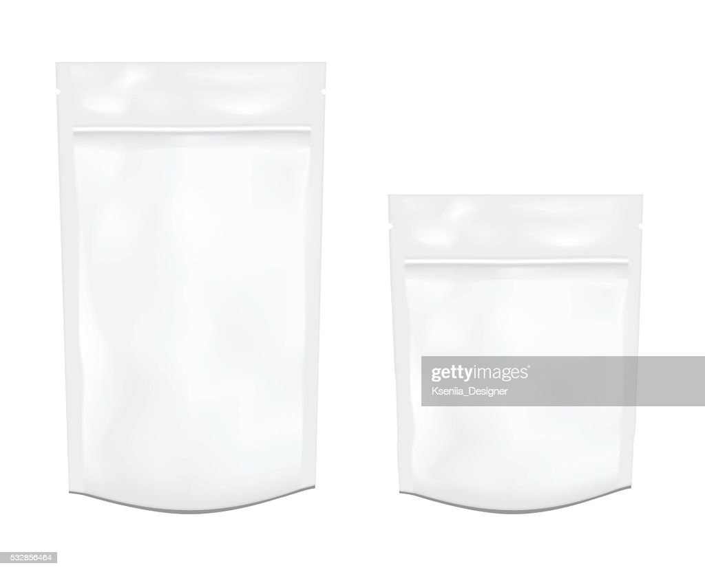 White empty plastic packaging with zipper. Foil or plastic sache.