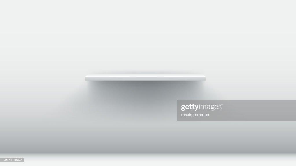 white empty shelf