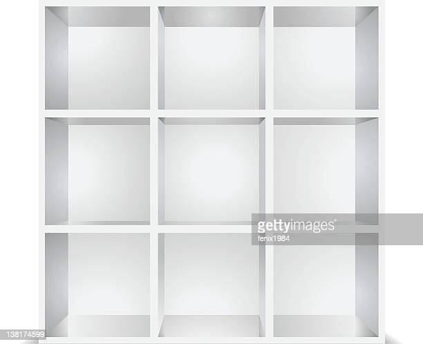 white empty shelves isolated - retail display stock illustrations