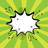White empty speech comic bubble with stars and dots on green background. Comic sound effects in pop art style. Vector illustration.