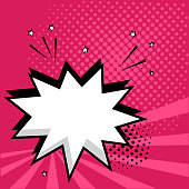 White empty speech comic bubble with stars and dots on pink background. Comic sound effects in pop art style. Vector illustration.