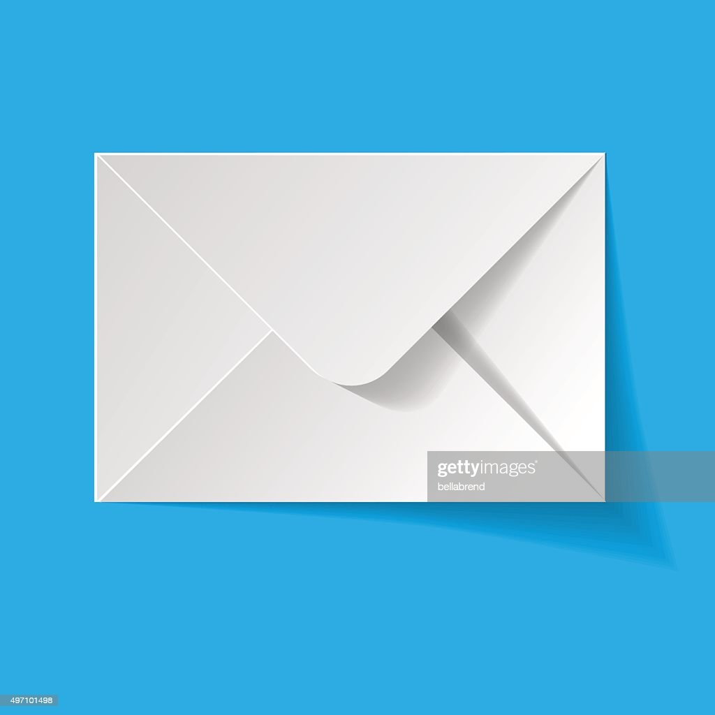 White envelope on a blue background.