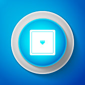 White Ethernet socket sign. Network port - cable socket icon isolated on blue background. LAN port icon. Local area connector icon. Circle blue button with white line. Vector Illustration