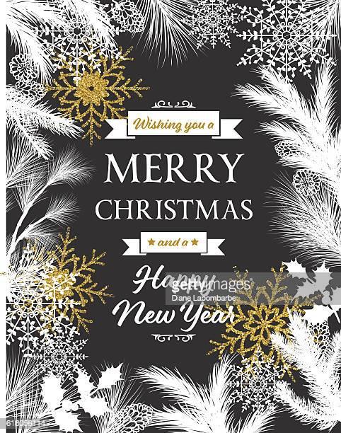 White Evergreen Silhouettes On Black Christmas Card