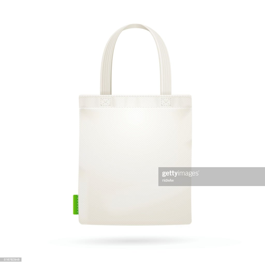 White Fabric Cloth Bag Tote. Vector