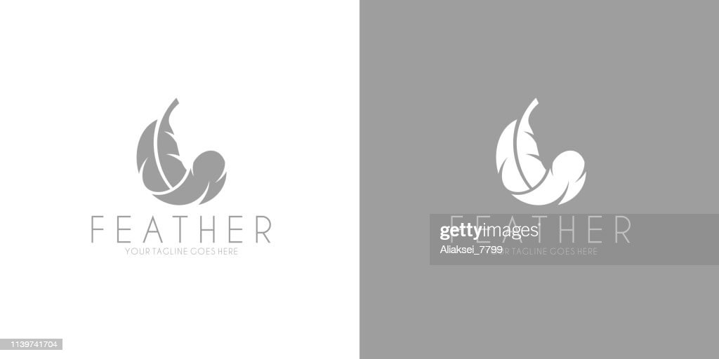 White feather. Logo. Black feather