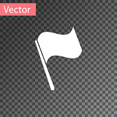 White Flag icon isolated on transparent background. Vector Illustration