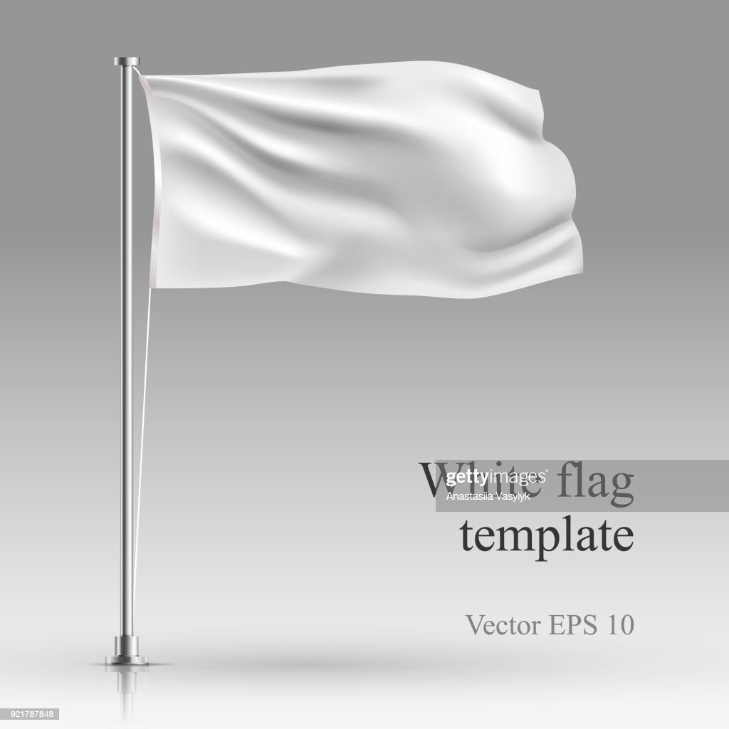 White flag stand on steel pole  template isolated on gray.