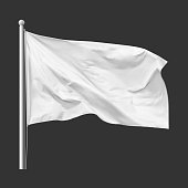 White flag waving in the wind on flagpole, isolated on gray background