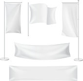 White flags and textile banners folds template set. Advertising banner,