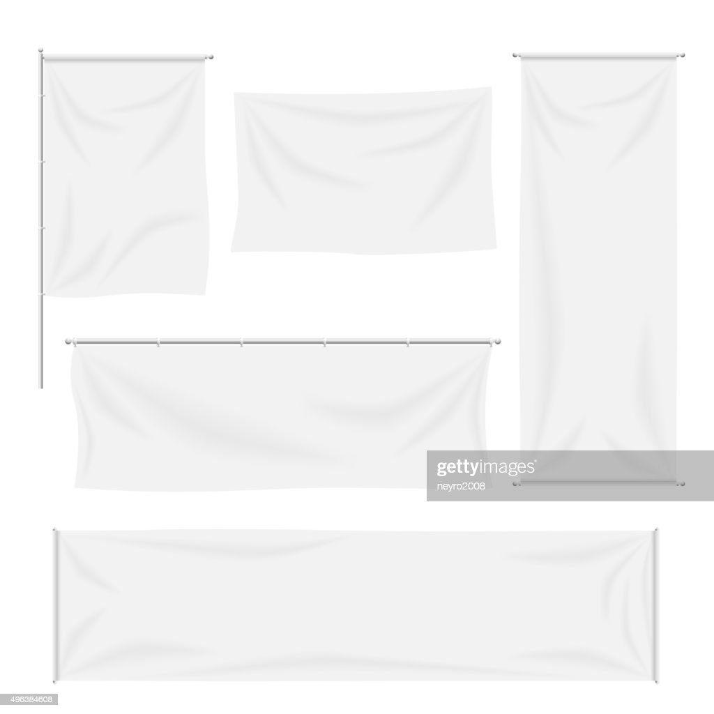 White flags and textile banners with folds vector template set