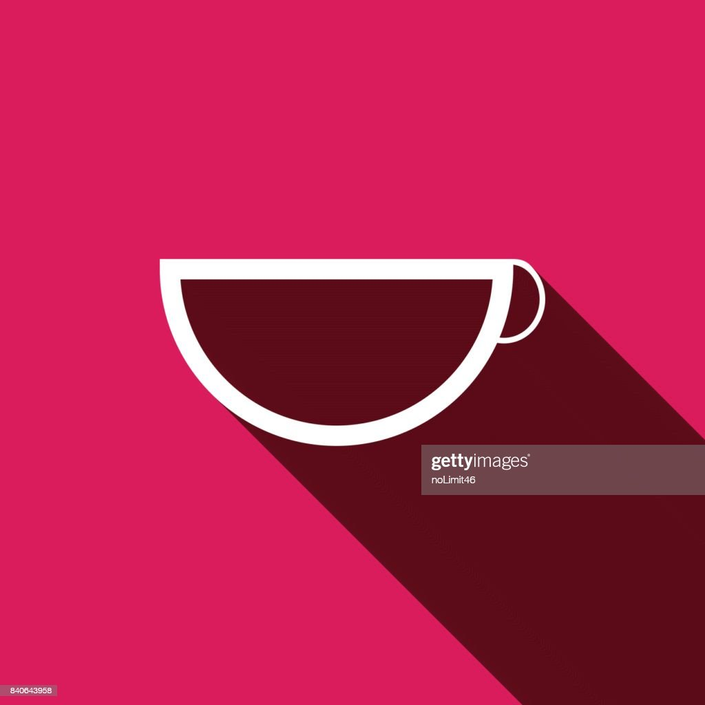 White flat Cup icon with long shadow. Vector illustration