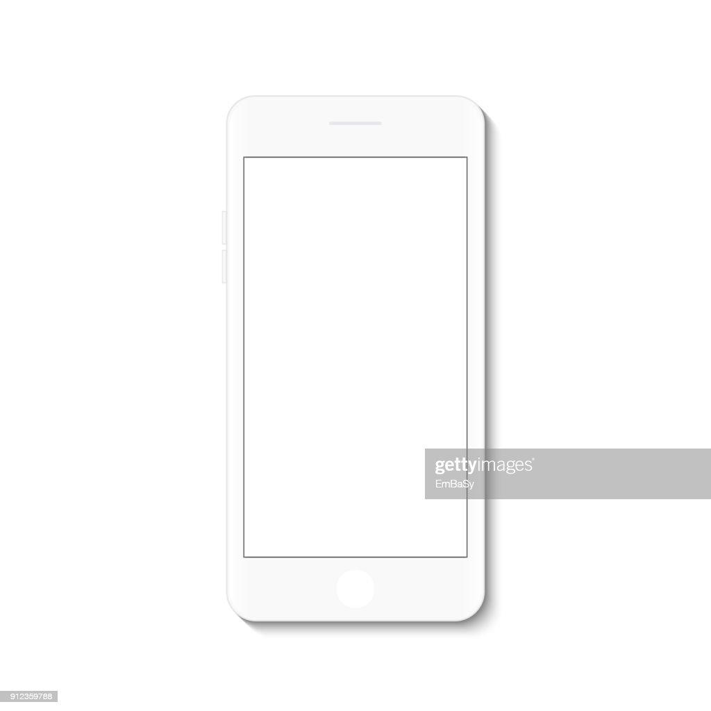 White flat phone white screen, vector drawing modern smartphone design.