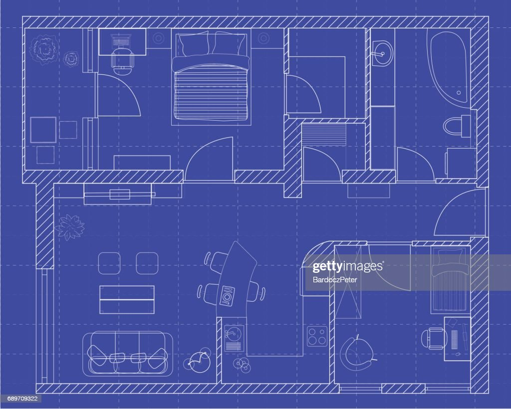 White floor plan sketch of a house on millimeter paper.