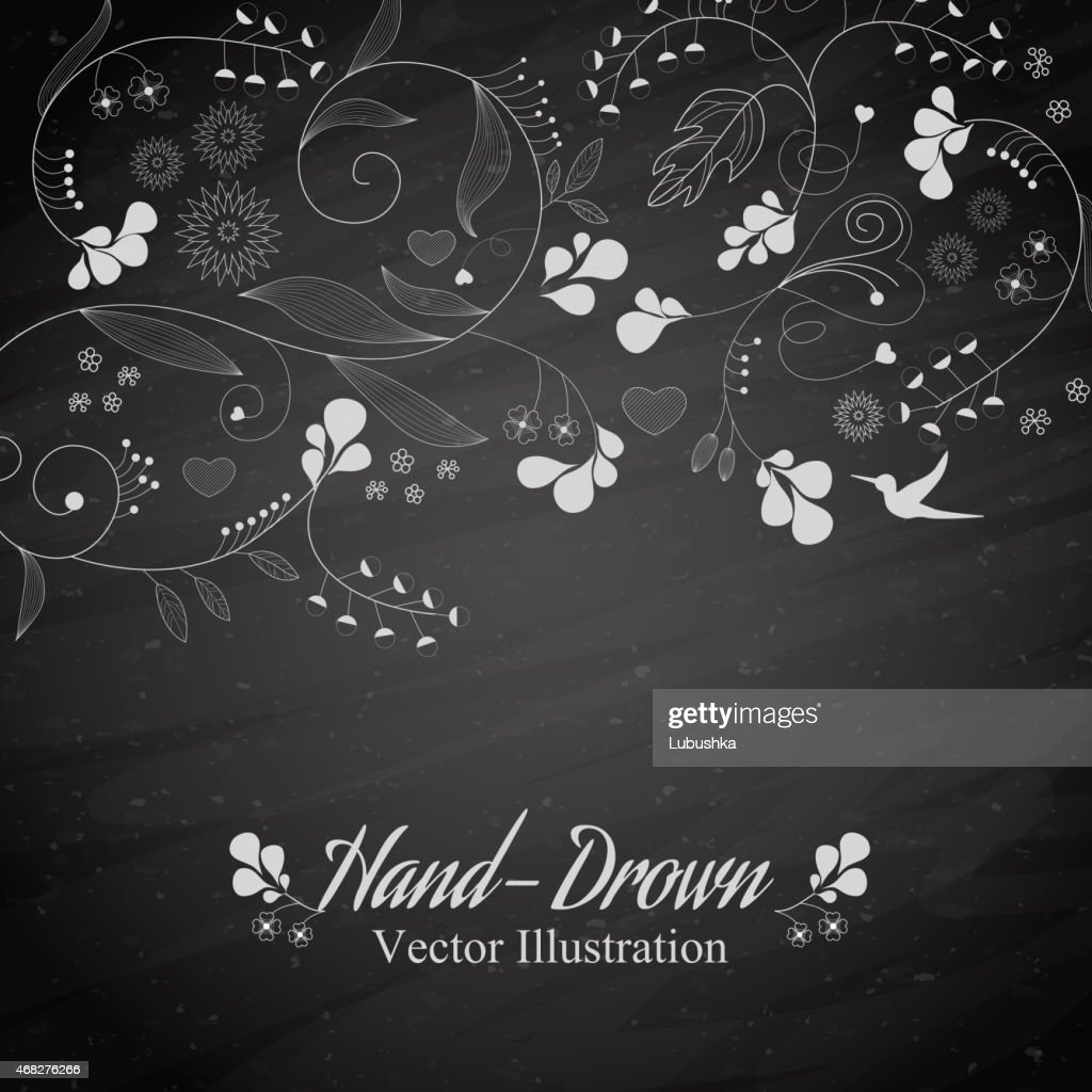 White floral hand-drawn illustration against grey background