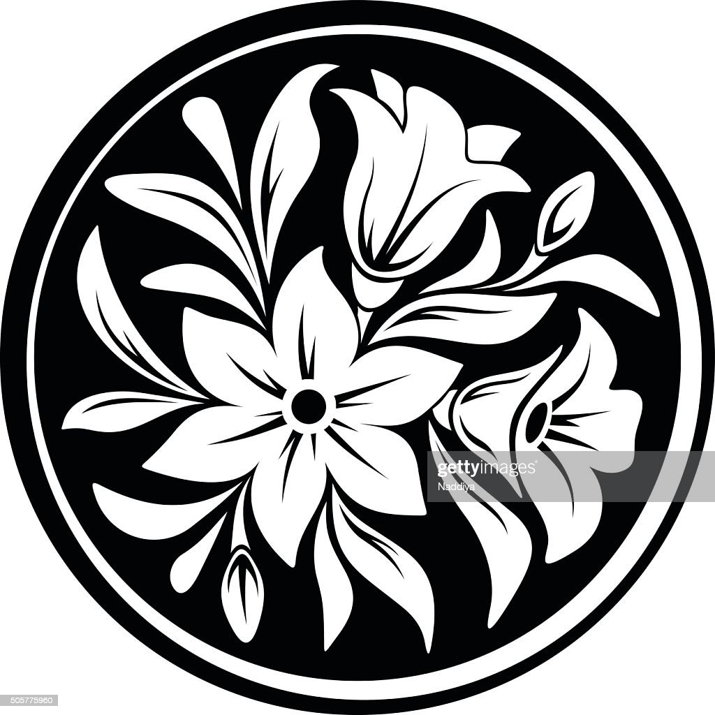 White flower ornament on a black circle background. Vector illustration.