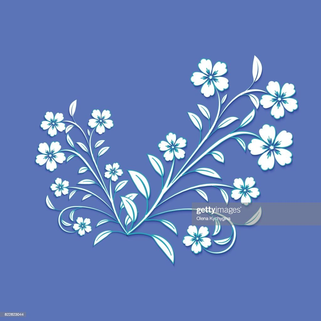 White Flowers With Blue Path On Blue Background For Design Wallpaper