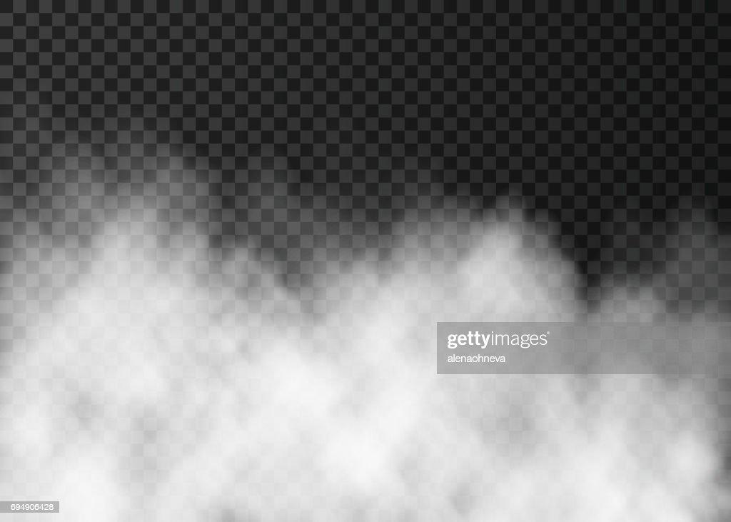 White fog or smoke  isolated on dark transparent background.