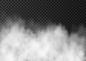 White fog or smoke  isolated on dark transparent background.