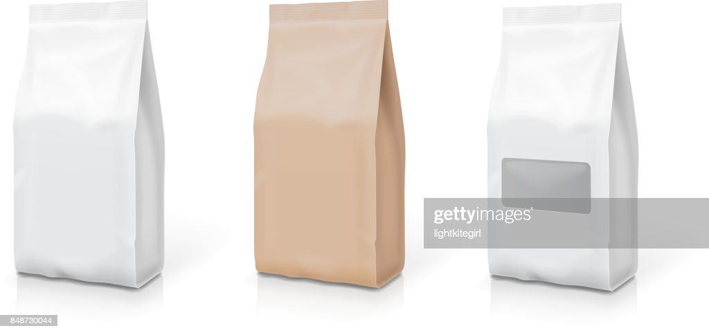 White foil or paper snack bag set. Packaging in food. Vector illustration
