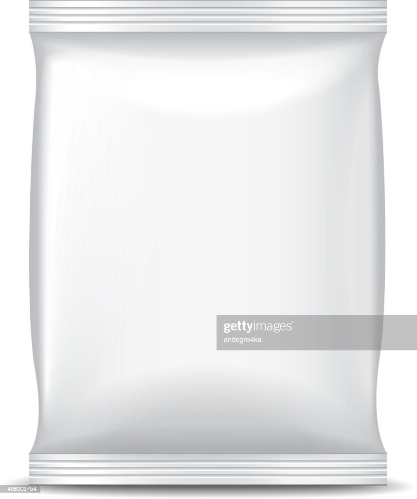 White foil packaging for food isolated vector