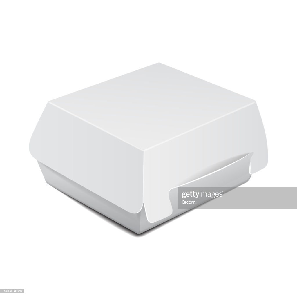 White food box, packaging for burger, lunch, fast food, sandwich. Vector product package on white background