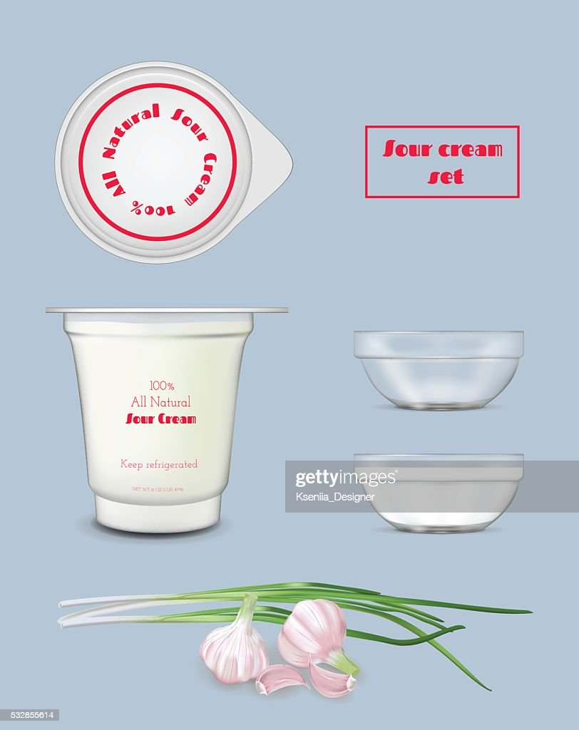 white food plastic container for yogurt and sour cream vector art