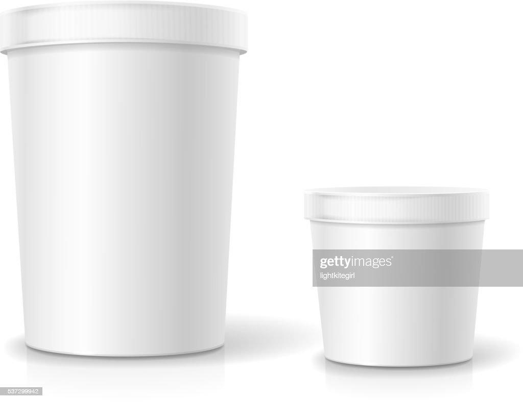 White food plastic tub bucket container for dessert, yogurt