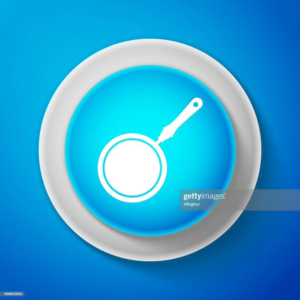 White Frying pan icon isolated on blue background. Circle blue button with white line. Vector Illustration