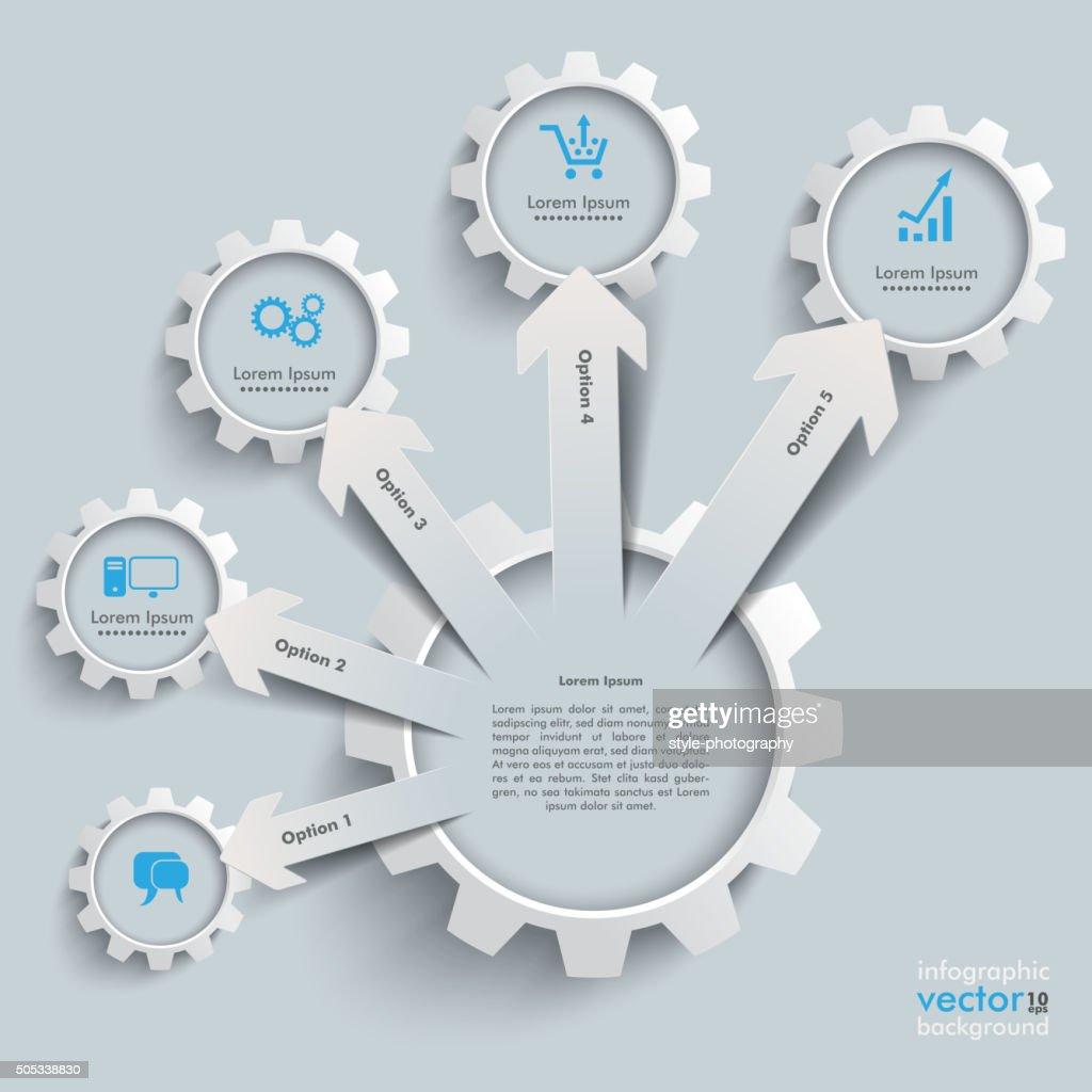 White Gear Paper Arrows Growth Gears