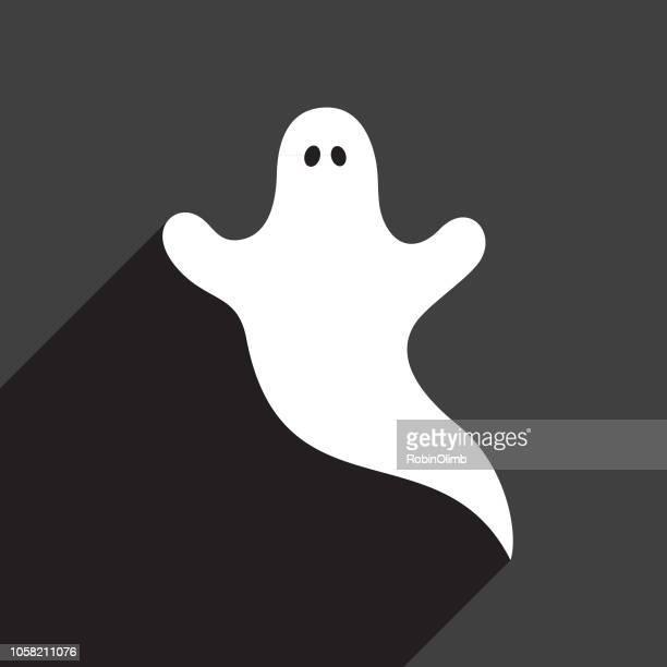 ilustraciones, imágenes clip art, dibujos animados e iconos de stock de icono de fantasma blanco - aparición acontecimiento