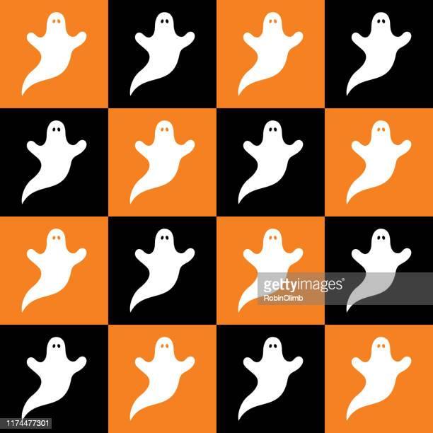 ilustraciones, imágenes clip art, dibujos animados e iconos de stock de white ghosts checkerboard seamless pattern - aparición acontecimiento