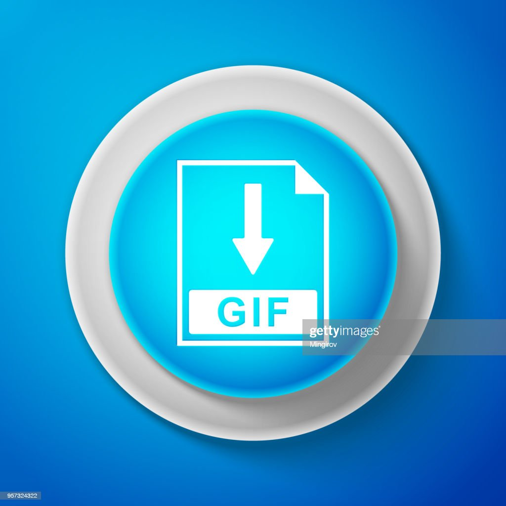 White GIF file document icon isolated on blue background. Download GIF button sign. Circle blue button with white line. Vector Illustration