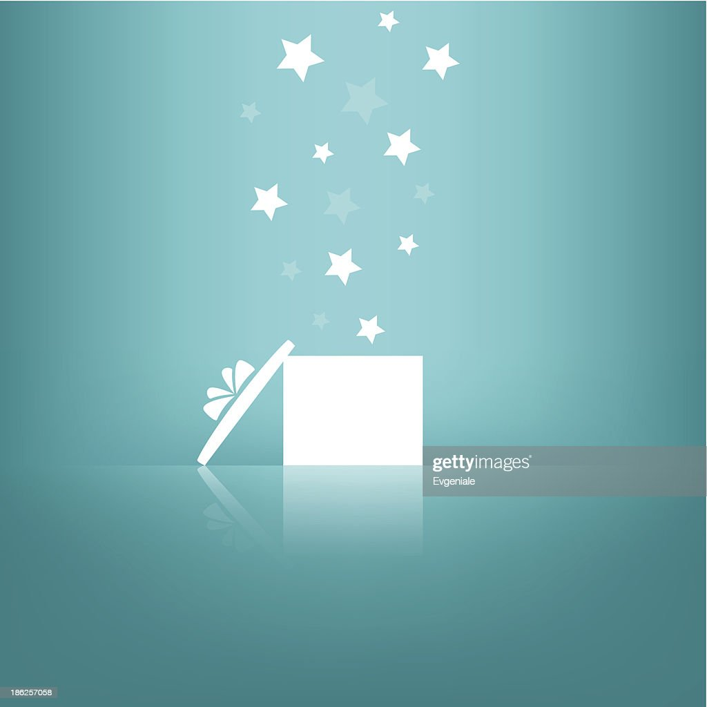 White gift box with stars on blue background.