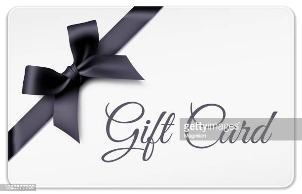 黒い弓の白いギフトカード - メッセージカード点のイラスト素材/クリップアート素材/マンガ素材/アイコン素材