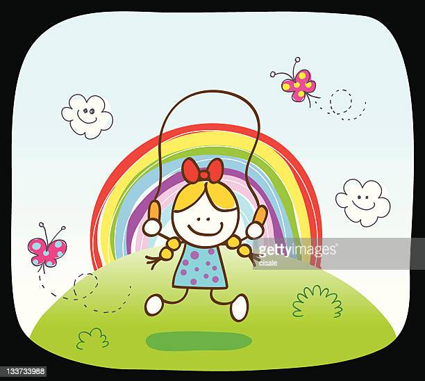 white girl playing in nature with rainbow, cartoon illustration