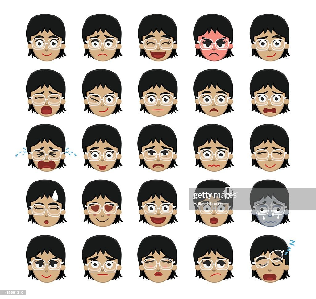 White Glasses Girl Emoticons Cartoon Vector Illustration