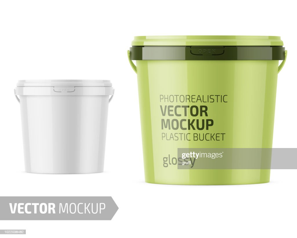 White glossy plastic bucket mockup with label.