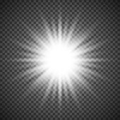White glowing light burst explosion on transparent background. Bright flare