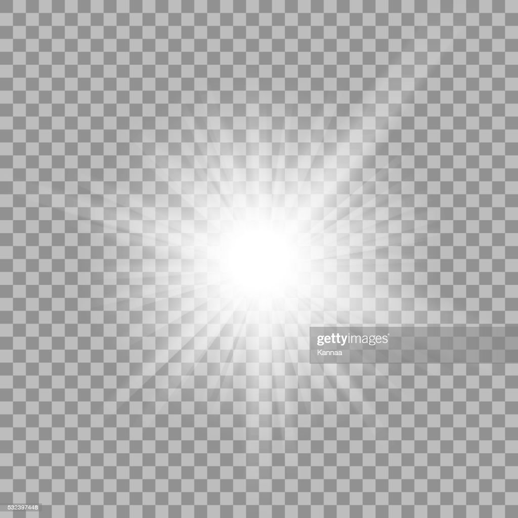 White glowing light burst on transparent background