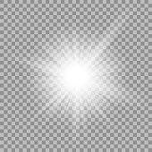 White glowing light burst on transparent background