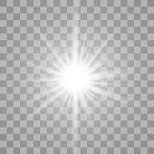 White glowing light burst on transparent background.