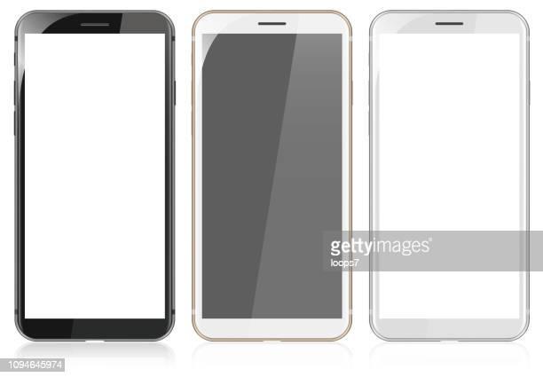 white, gold and black modern smartphones - model object stock illustrations
