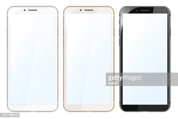 white, gold and black modern smartphones - mobile phone stock illustrations, clip art, cartoons, & icons