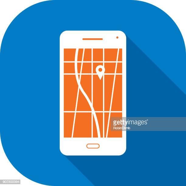 ilustraciones, imágenes clip art, dibujos animados e iconos de stock de icono de teléfono inteligente de mapa gps blanco - destino concepto