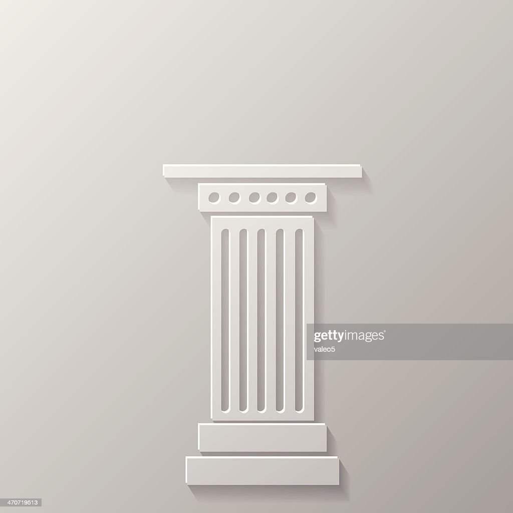 White Greek column icon in relief on a grey background