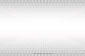 white grey abstract dots perspective background, vector illustration